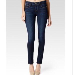 Paige Dark Wash Skyline Skinny Surface Wash Jeans